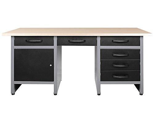 Ondis24 Werkbank 170 cm mit 6 Schiebern und Tür abschließbar Werktisch für Werkstatt Holz Arbeitsplatte (85 cm Arbeitshöhe)