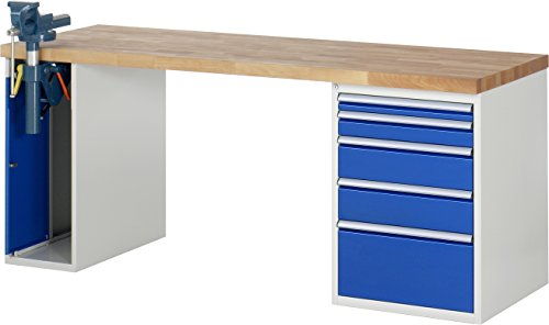 RAU Werkbank Serie 7000 - Baukasten-Bauweise, 1 Stück, lichtgrau/ enzianblau, 03 7511A2-207B4S.11