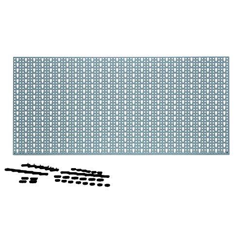 acerto 40361 Metall Werkzeugwand, 46x98cm mit 44 Haken * Eurolochung * Solide verarbeitet * Ohne scharfe Kante | Lochblech, Lochplatte mit Schlüssellochung | Werkzeug-Lochwand, Werkstatt-Wand