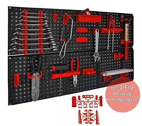 Werkzeugwand/Lochwand Länge 80 cm x Breite 48 cm mit 19 teiligem Werkzeughalter Set, beliebig erweiterbar